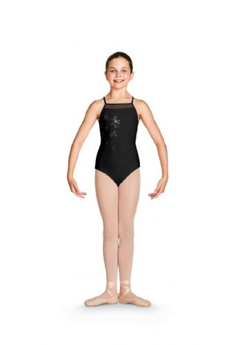 Bloch Girls Camisole Strappy Back Floral Front Leotard CL4967 Jacinda Black